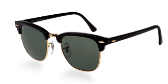 Ray Ban Clubmaster 3016  Black w/Green Lenses