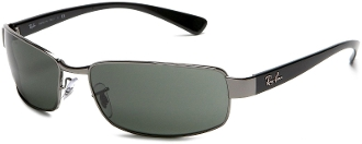 Ray Ban 3364 Gun Metal Frame with Black Temple Pol Green